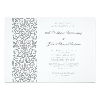Silver Border 25th Wedding Anniversary Party 13 Cm X 18 Cm Invitation Card