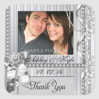 Silver Bow Photo Thank You Wedding Labels Square Sticker