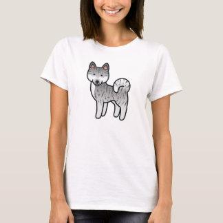 Silver Brindle Akita Dog Cartoon Illustration T-Shirt
