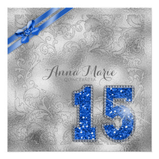 Silver Brocade Fifteenth Birthday Blue ID382 Poster