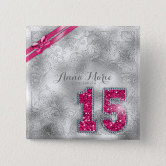 Silver Brocade Fifteenth Birthday Hot Pink ID382 15 Cm Square Badge