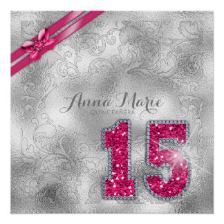 Silver Brocade Fifteenth Birthday Hot Pink ID382 Poster