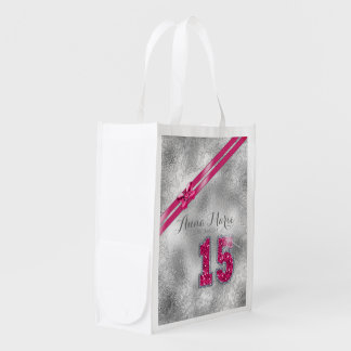 Silver Brocade Fifteenth Birthday Hot Pink ID382 Reusable Grocery Bag
