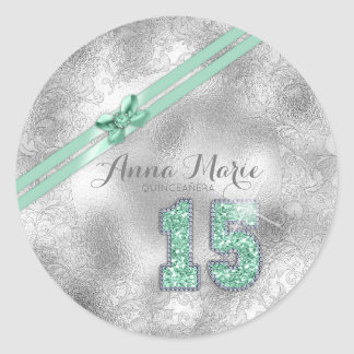Silver Brocade Fifteenth Birthday Mint Green ID382 Classic Round Sticker