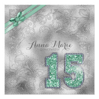 Silver Brocade Fifteenth Birthday Mint Green ID382 Poster