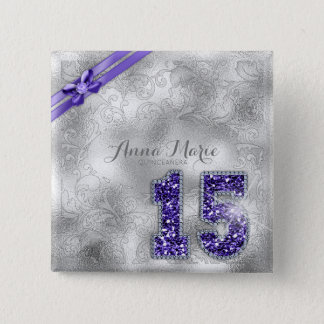 Silver Brocade Fifteenth Birthday Purple ID382 15 Cm Square Badge
