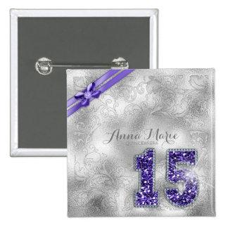 Silver Brocade Fifteenth Birthday Purple ID382 15 Cm Square Badge