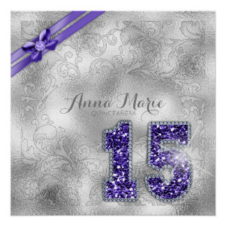 Silver Brocade Fifteenth Birthday Purple ID382 Poster
