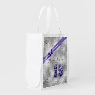 Silver Brocade Fifteenth Birthday Purple ID382 Reusable Grocery Bag