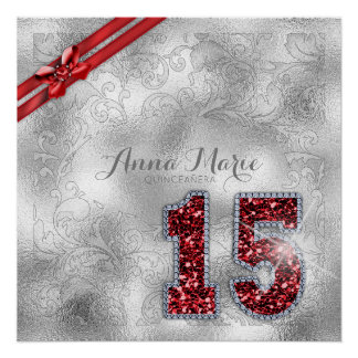 Silver Brocade Fifteenth Birthday Red ID382 Poster