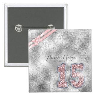 Silver Brocade Fifteenth Birthday Rose Gold ID382 15 Cm Square Badge