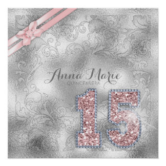 Silver Brocade Fifteenth Birthday Rose Gold ID382 Poster