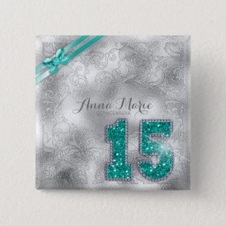 Silver Brocade Fifteenth Birthday Teal ID382 15 Cm Square Badge