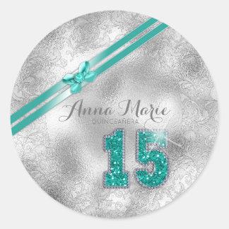 Silver Brocade Fifteenth Birthday Teal ID382 Classic Round Sticker