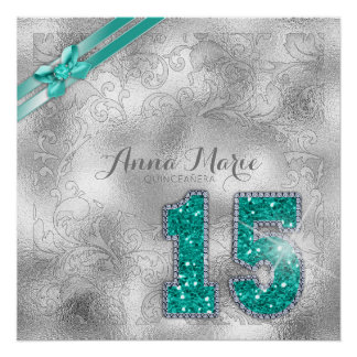 Silver Brocade Fifteenth Birthday Teal ID382 Poster
