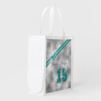 Silver Brocade Fifteenth Birthday Teal ID382 Reusable Grocery Bag