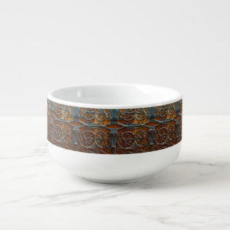 Silver brown wood funky looking door soup mug