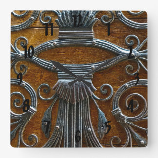 Silver brown wood funky looking door square wall clock