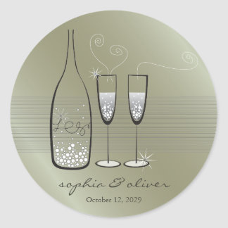 Silver Bubbly Champagne Cheers Wedding Sticker