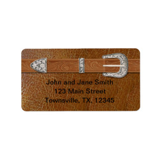 Silver Buckle and Leather Address Label