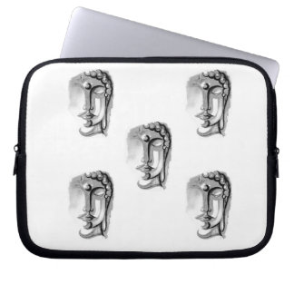 SILVER BUDDHA FACES Neoprene Laptop Sleeve 10 inch