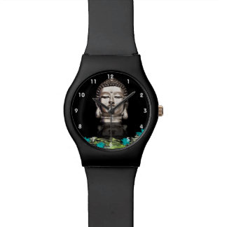 Silver Buddha Head Statue Watch