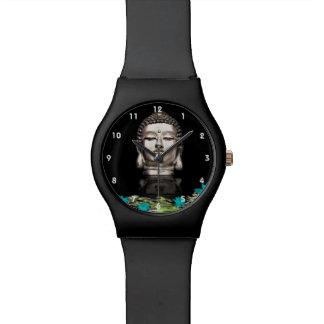 Silver Buddha Head Statue Watch