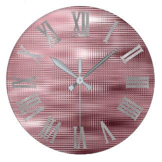 Silver Burgundy Bean Minimal Metallic Roman Numers Large Clock