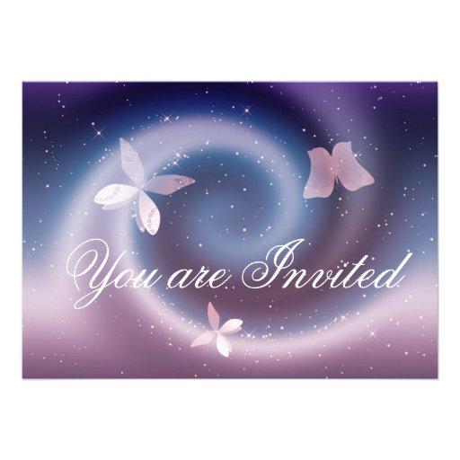 Silver Butterflies Invitation Card