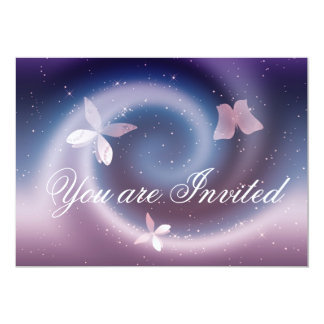 Silver Butterflies Invitation Card