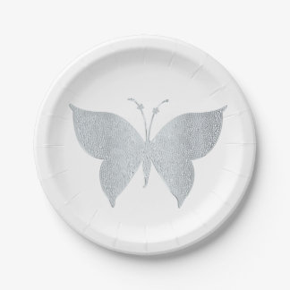 Silver Butterfly Cocktail Snack Plates