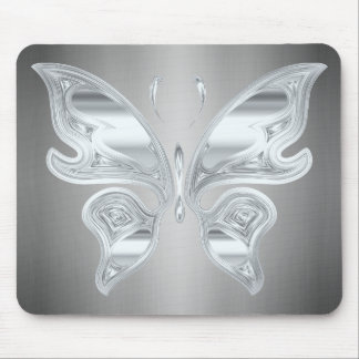 Silver butterfly mouse pad