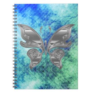 Silver Butterfly on Dreamy Blue Green Sky Notebook