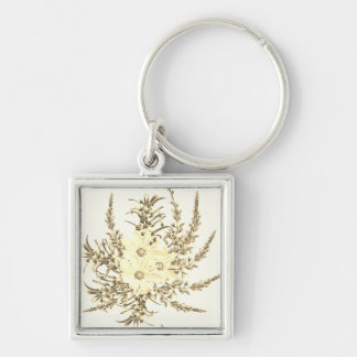 Silver button with Yellow flowers Silver-Colored Square Key Ring