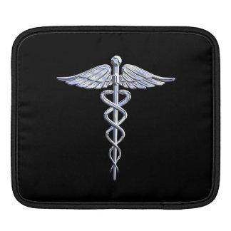 Silver Caduceus Medical Symbol on Black iPad Sleeves