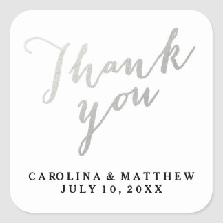 Silver Calligraphy | Wedding Thank You Sticker