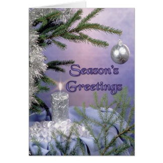 Silver Candle Greetings Card