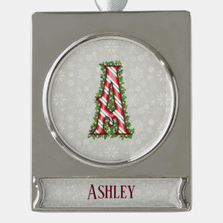 Silver Candy Cane Striped Letter A Silver Plated Banner Ornament