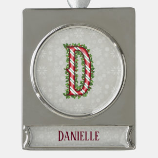 Silver Candy Cane Striped Letter D Silver Plated Banner Ornament