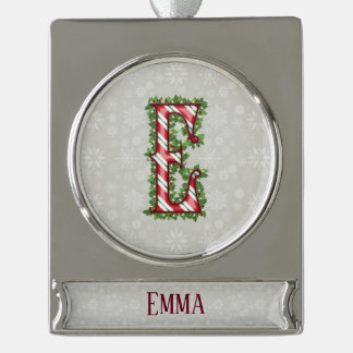 Silver Candy Cane Striped Letter E Silver Plated Banner Ornament