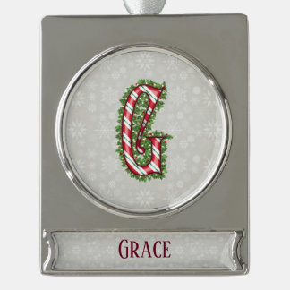 Silver Candy Cane Striped Letter G Silver Plated Banner Ornament
