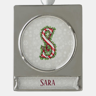 Silver Candy Cane Striped Letter S Silver Plated Banner Ornament