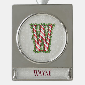 Silver Candy Cane Striped Letter W Silver Plated Banner Ornament