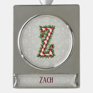 Silver Candy Cane Striped Letter Z Silver Plated Banner Ornament
