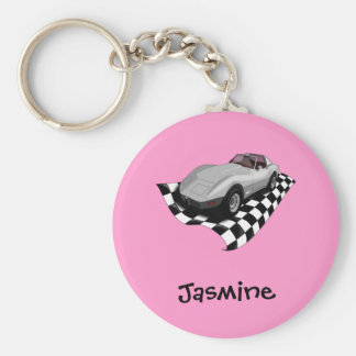 Silver Car Checker Board Flag Personalized Name Key Ring