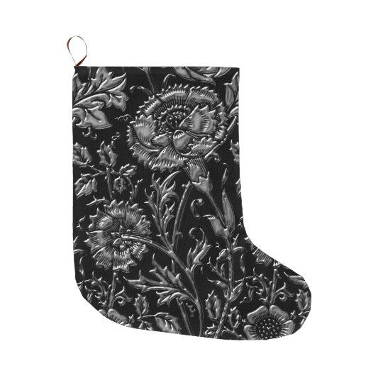 Silver Carnations On Black Chic Large Christmas Stocking