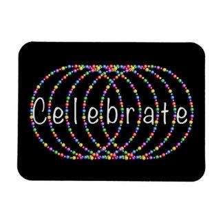 Silver Celebrate Lights Design on Black Rectangular Photo Magnet