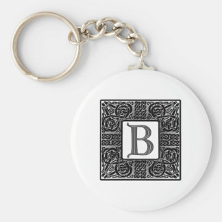 "Silver Celtic ""B"" Monogram Basic Round Button Key Ring"