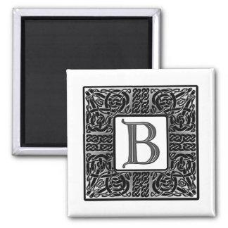 "Silver Celtic ""B"" Monogram Square Magnet"