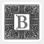 """Silver Celtic """"B"""" Monogram Square Stickers"""